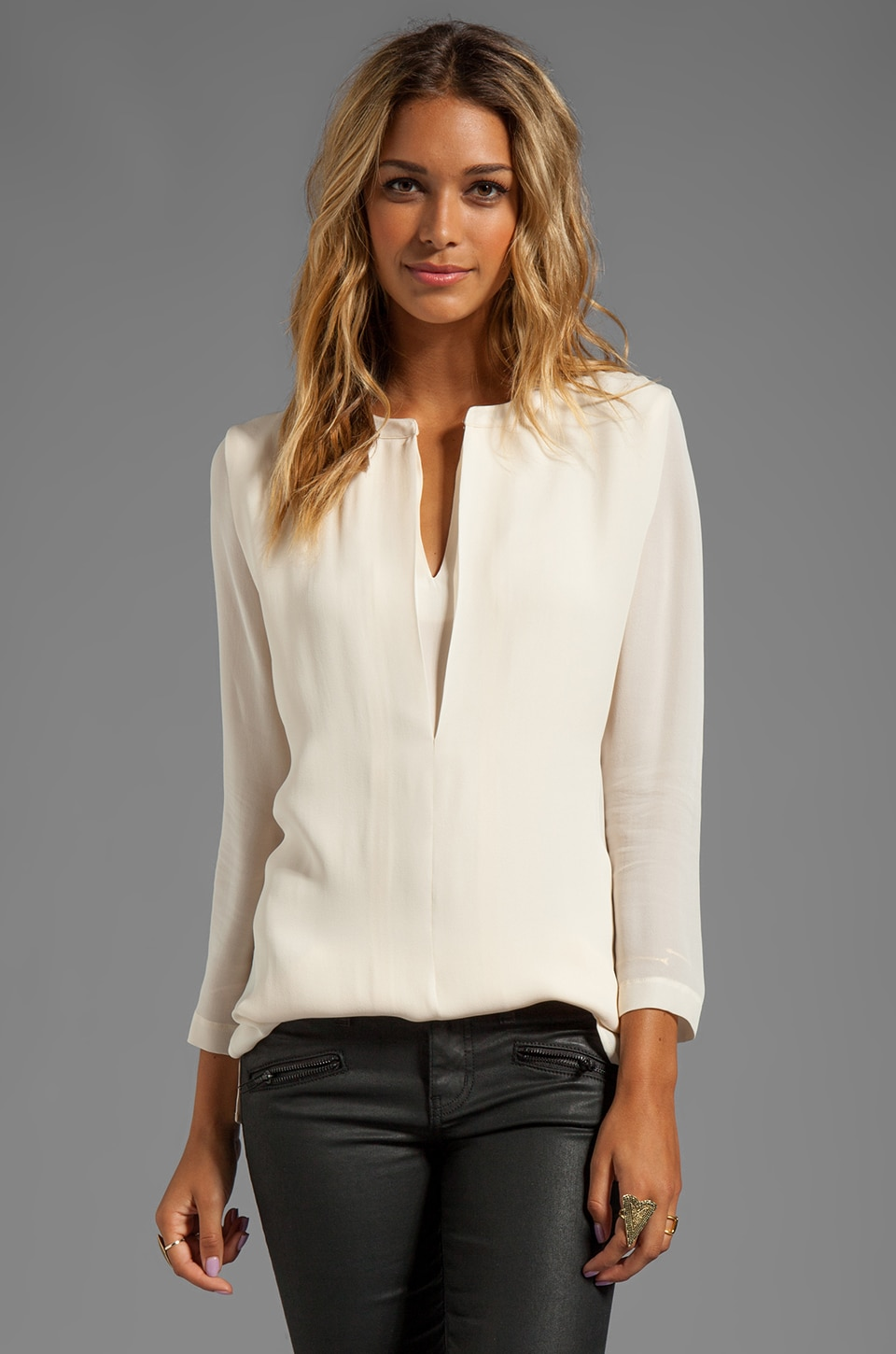 Halston Heritage Washed Silk Double Georgette Top in Bone