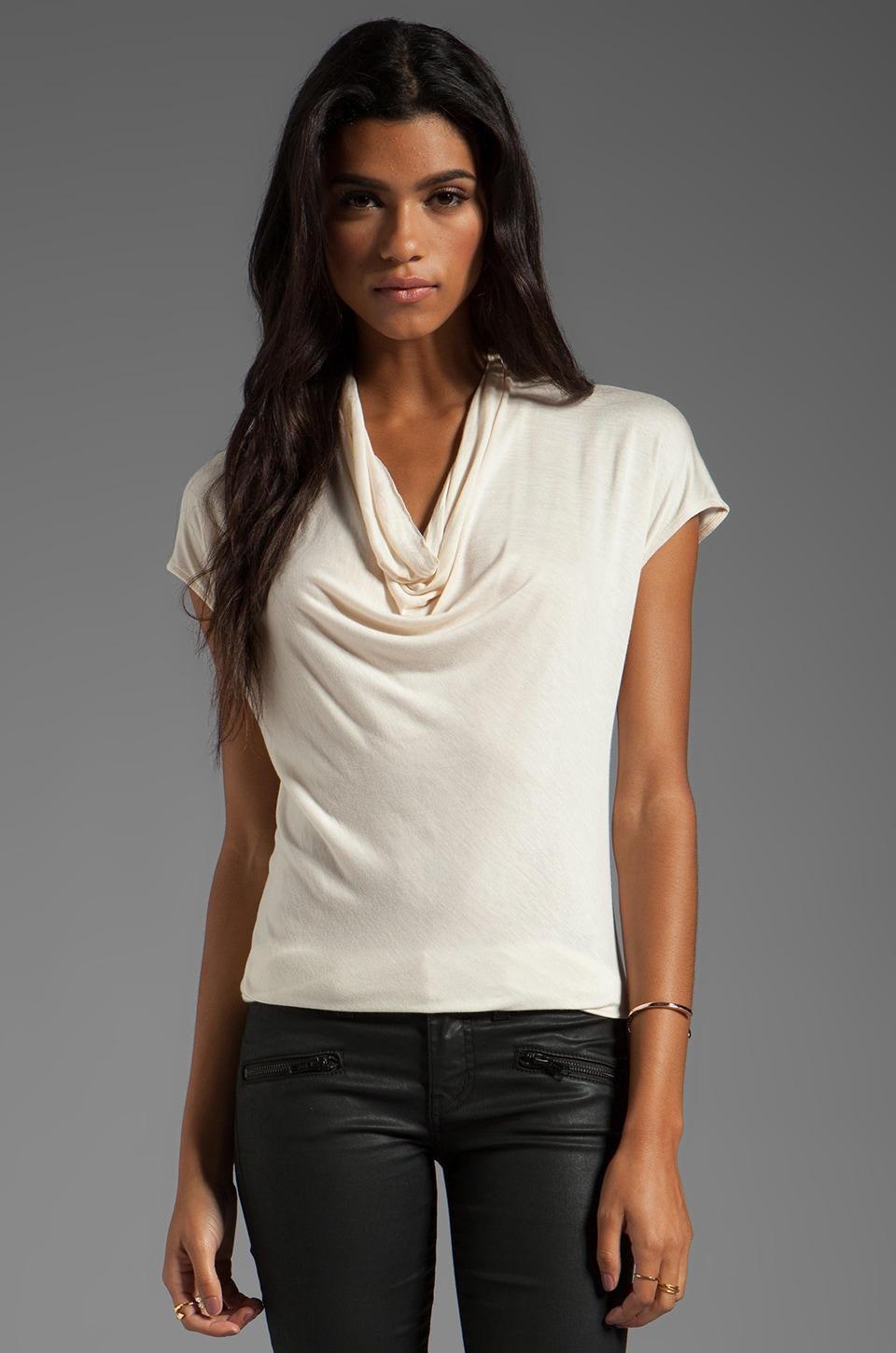Halston Heritage Short Sleeve Draped Neck Knit Top in Bone