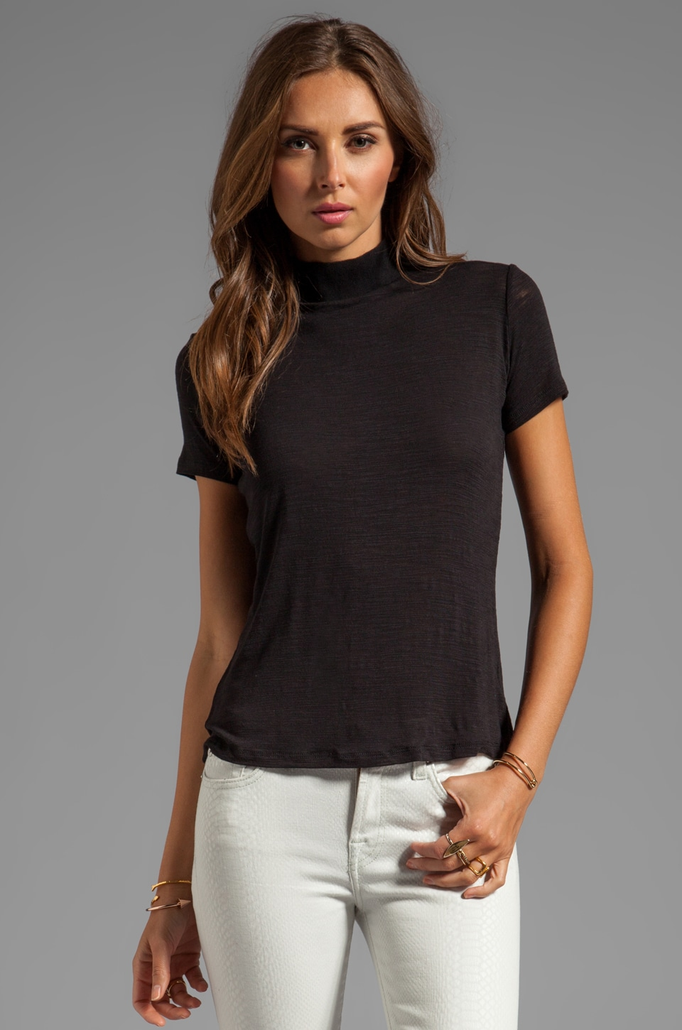 Halston Heritage Short Sleeve Ribbed Turtle Neck Knit Top in Black