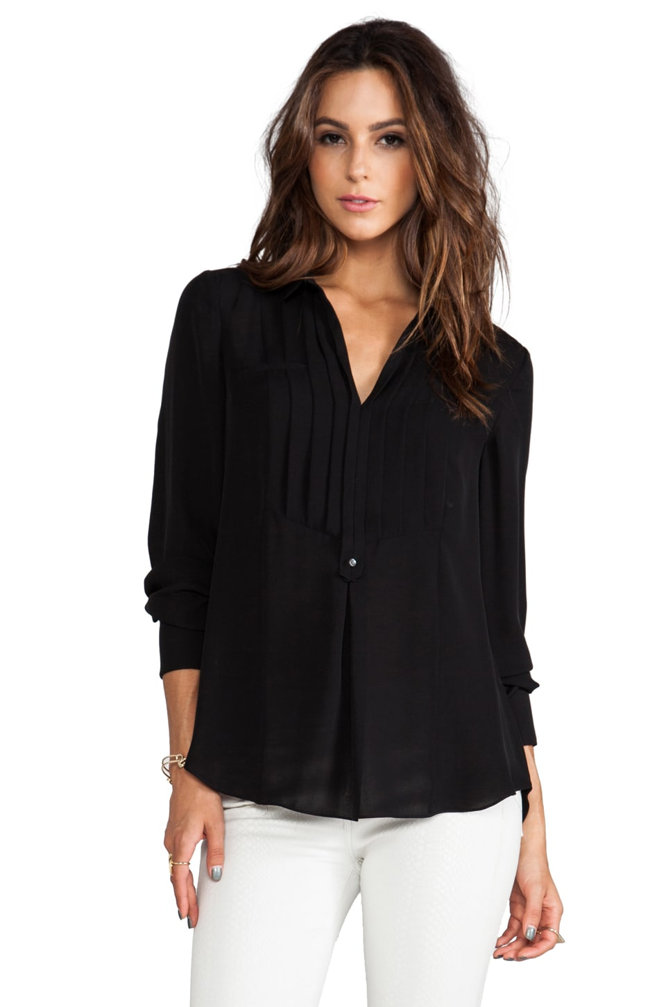 Halston Heritage Silk Tuxedo Shirt in Black