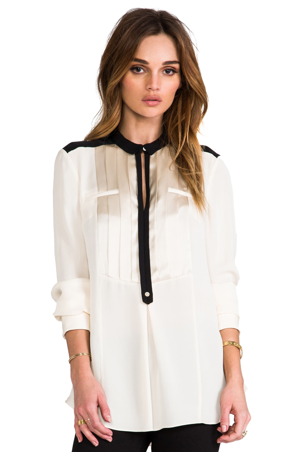 Halston Heritage Tuxedo Shirt in Bone/Black