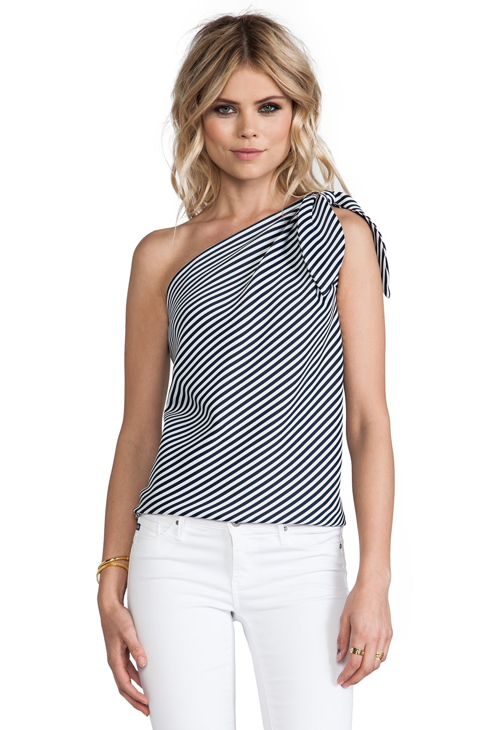 Halston Heritage One Shoulder Top in Navy & Chalk
