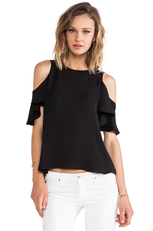 Halston Heritage Flutter Sleeve Cold Shoulder Top in Black