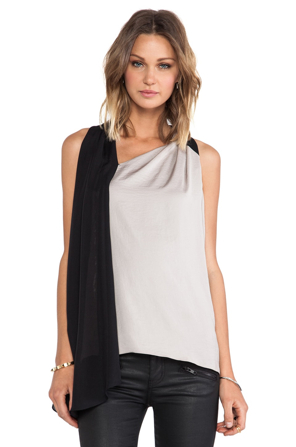 Halston Heritage Wrap Drape Top in Stone & Black