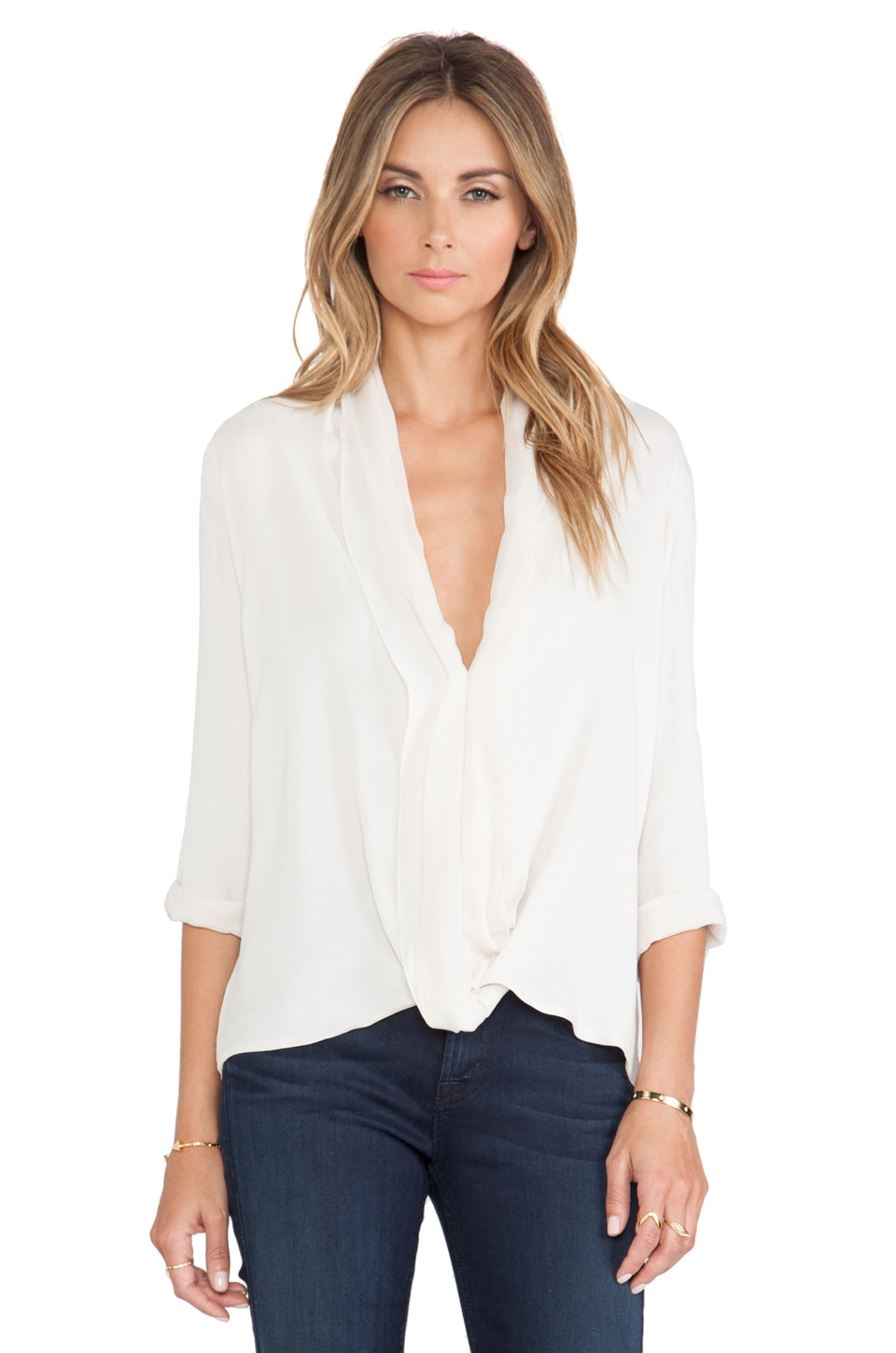 Halston Heritage V Neck Drape Top in Eggshell