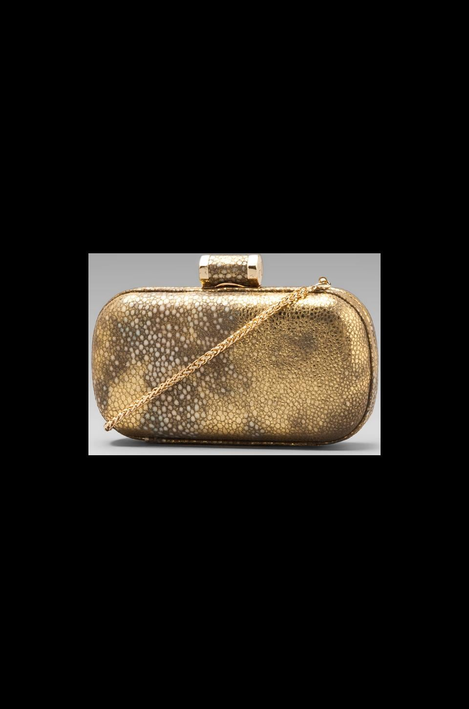 Halston Heritage Evening Leather Oblong Minaudiere in Gold