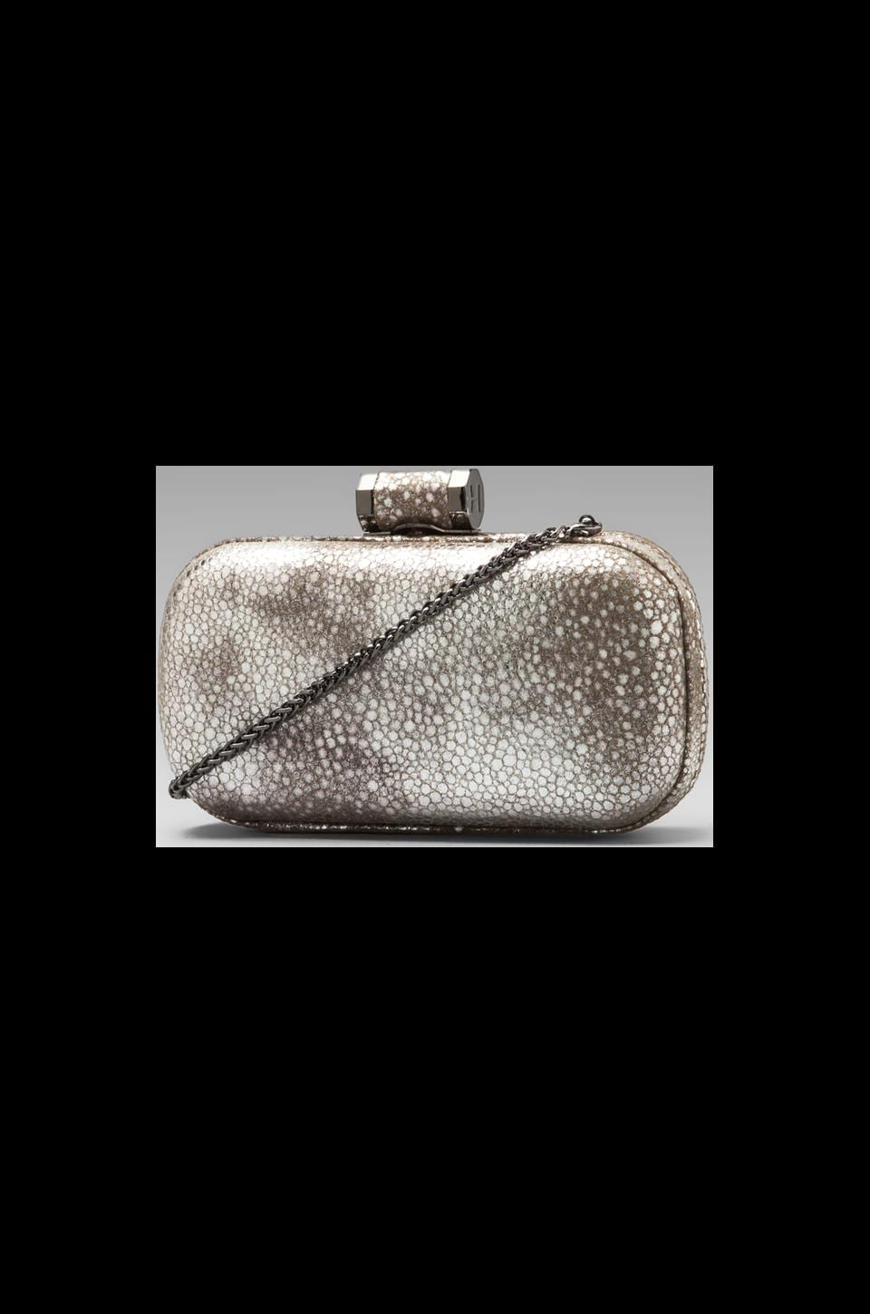 Halston Heritage Evening Leather Oblong Minaudiere in Silver