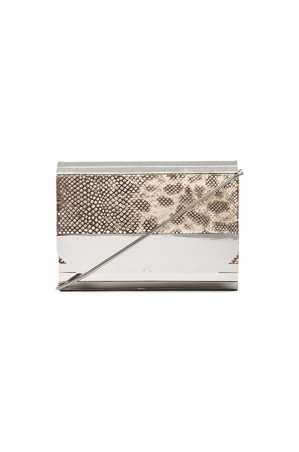 Halston Heritage Halston Metal Tab Clutch in Silver Multi