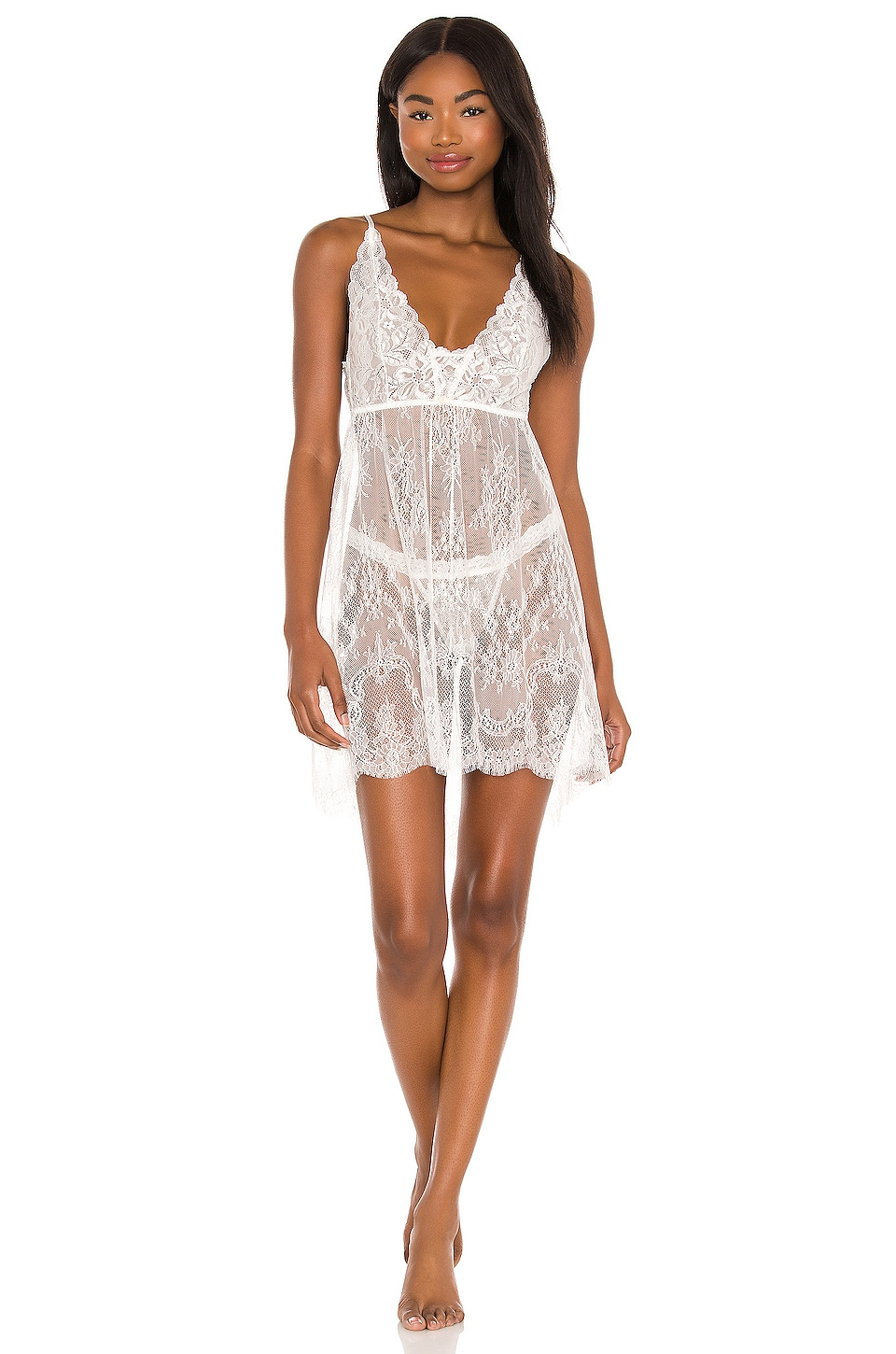 Hanky Panky Victoria Lace Chemise with G-String in Light Ivory