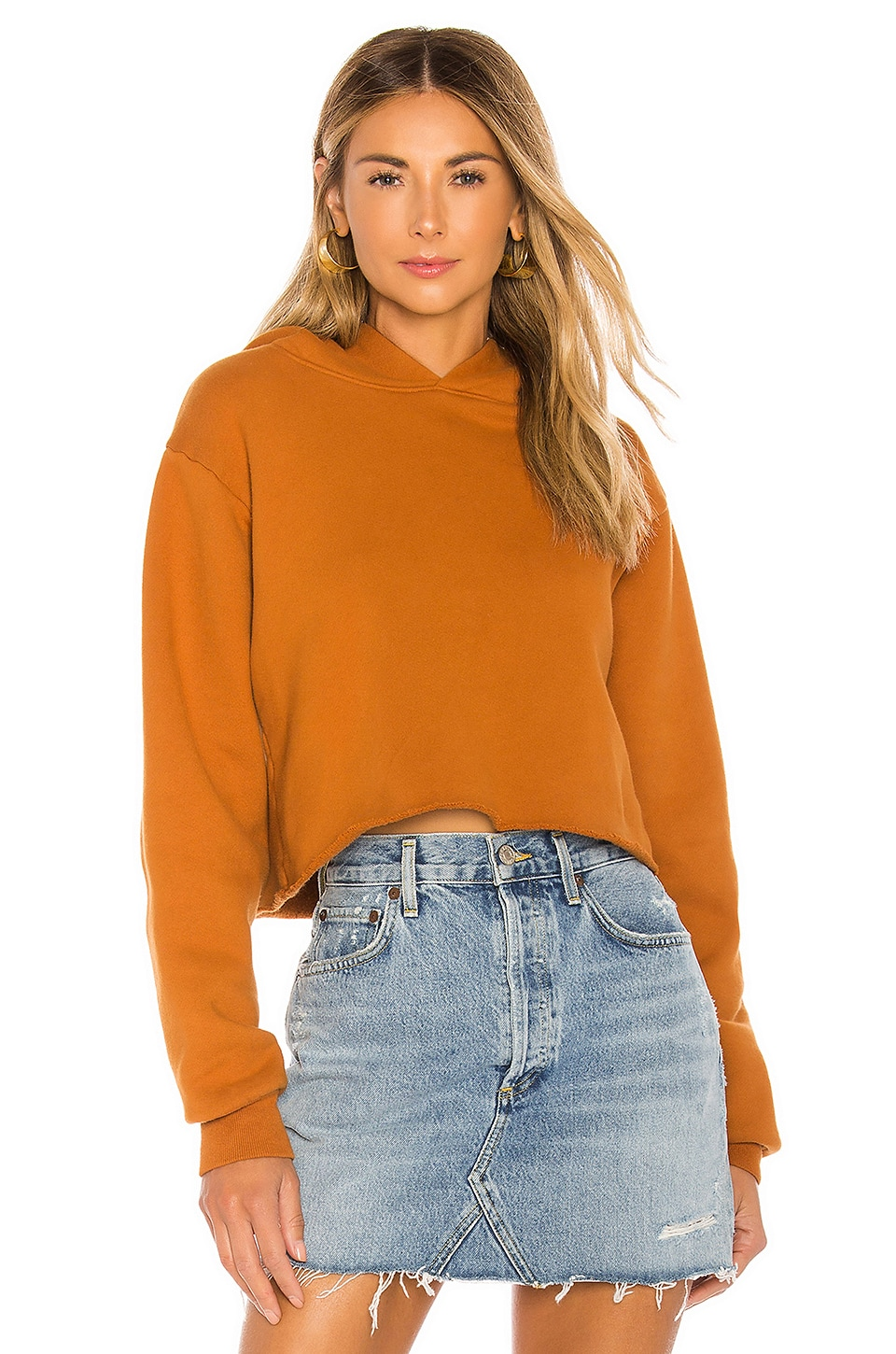x karla The Crop Long Sleeve Hoodie in Bronze