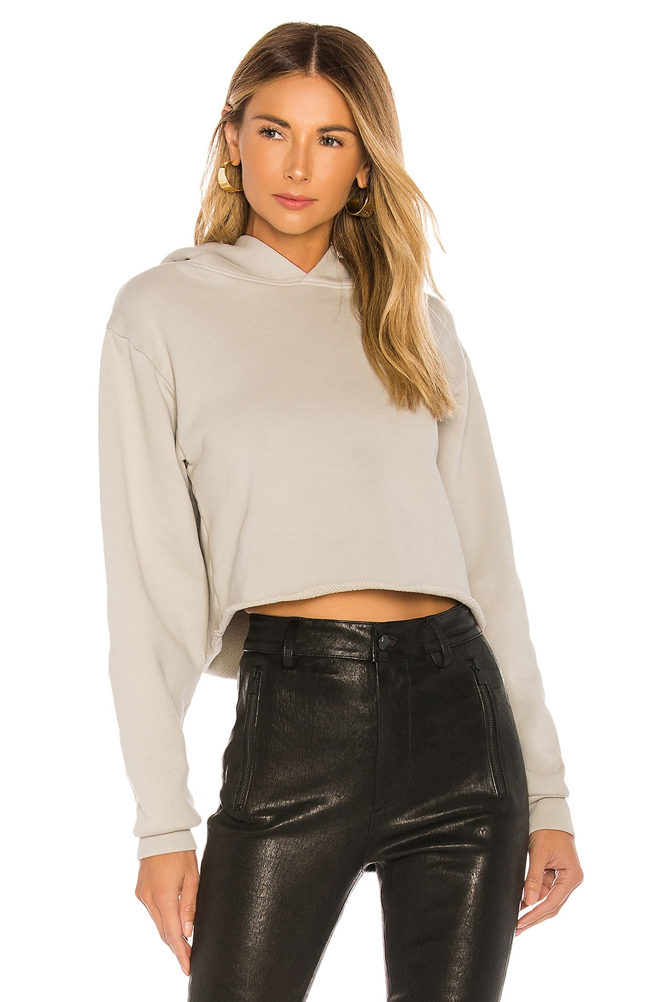 x karla The Crop Long Sleeve Hoodie in Stone Grey
