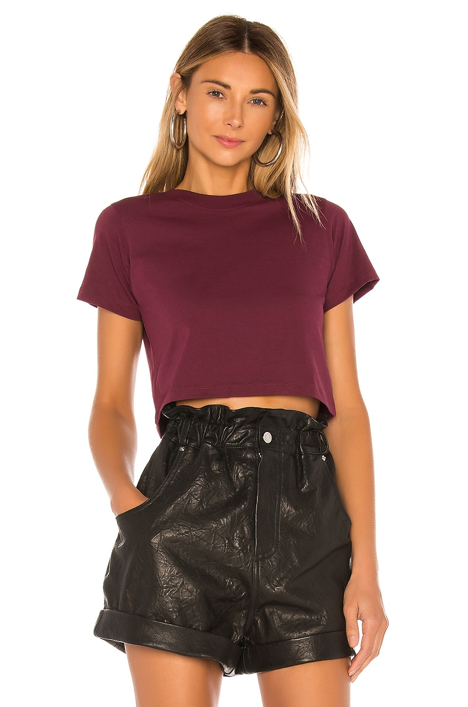 x karla The Baby Tee in Burgundy