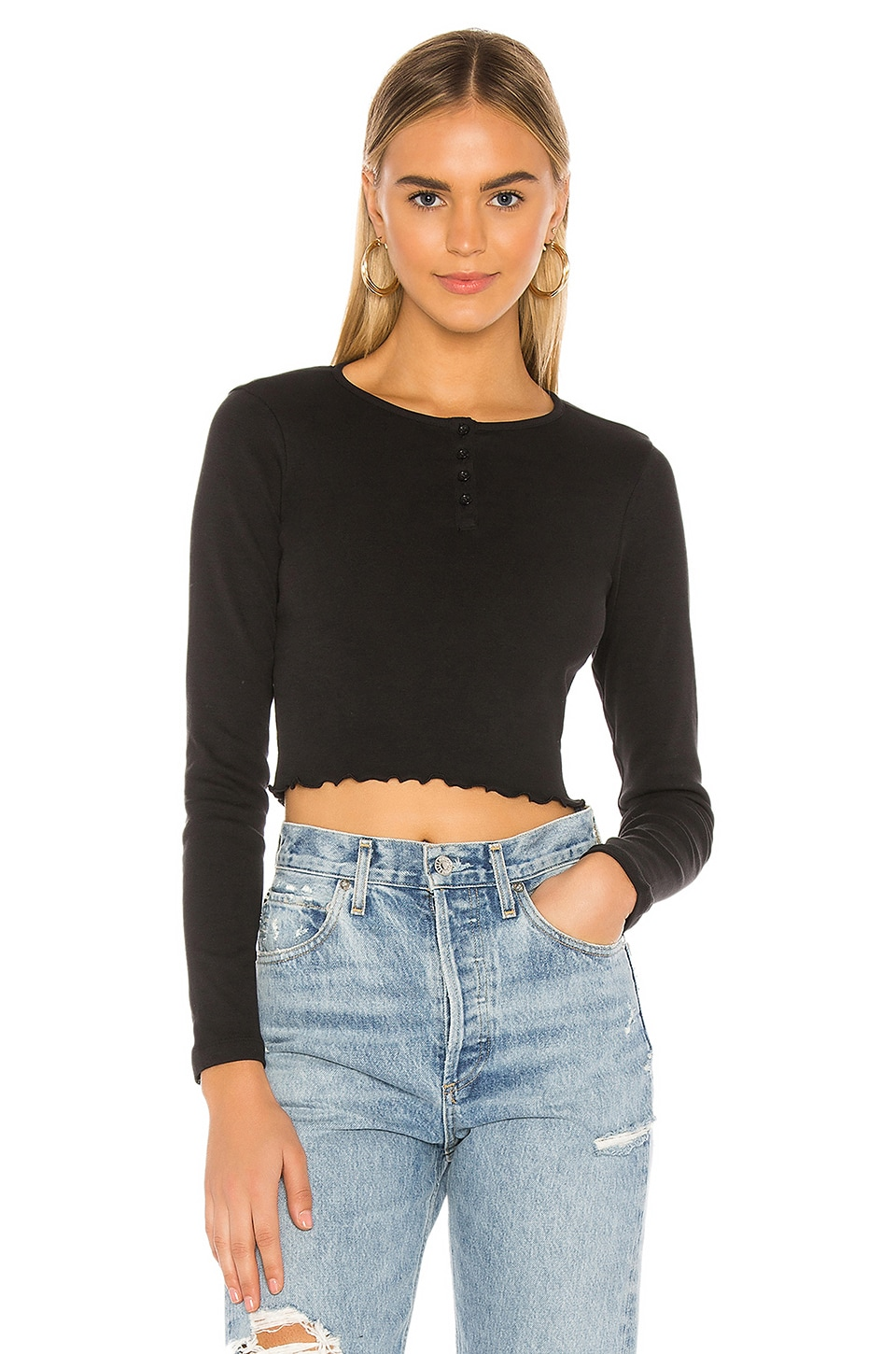 x karla The Crop Henley With Lettuce Hem in Black
