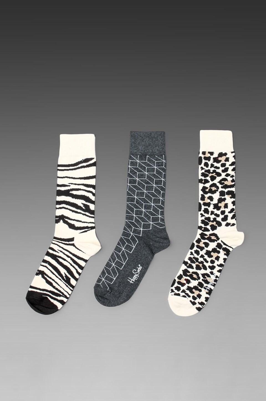 Happy Socks 3 Pack in Animal/Optic