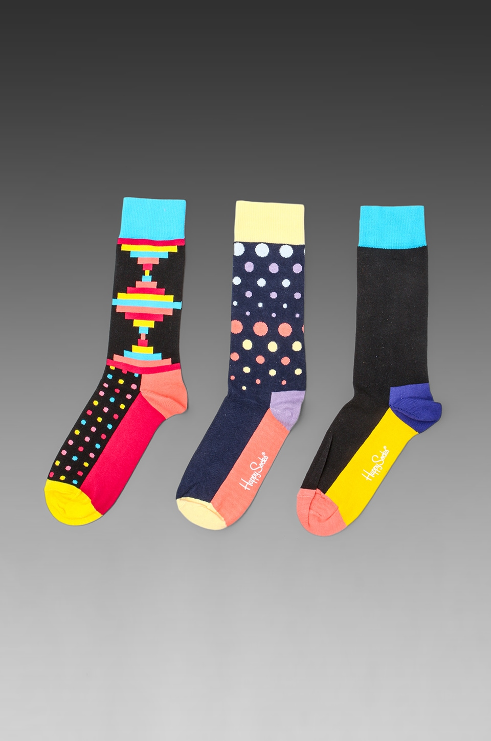 Happy Socks 3 Pack in Five Colour/Inca/Disco Dot