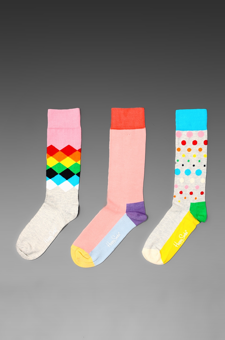 Happy Socks 3 Pack in Faded Diamonds/Five Colour/Disco Dot