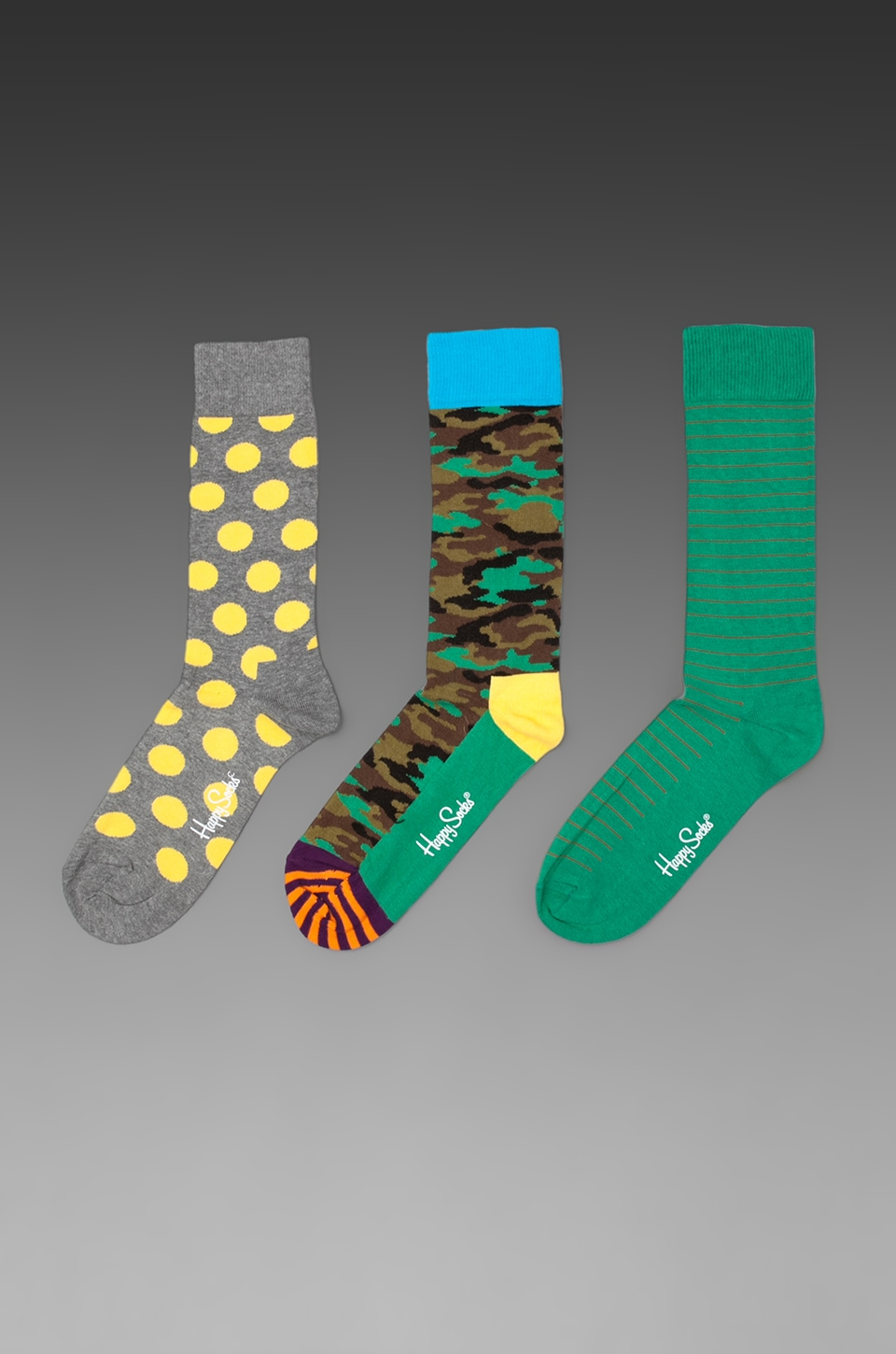 Happy Socks in Big Dot/ Camouflage/ Thin Stripe