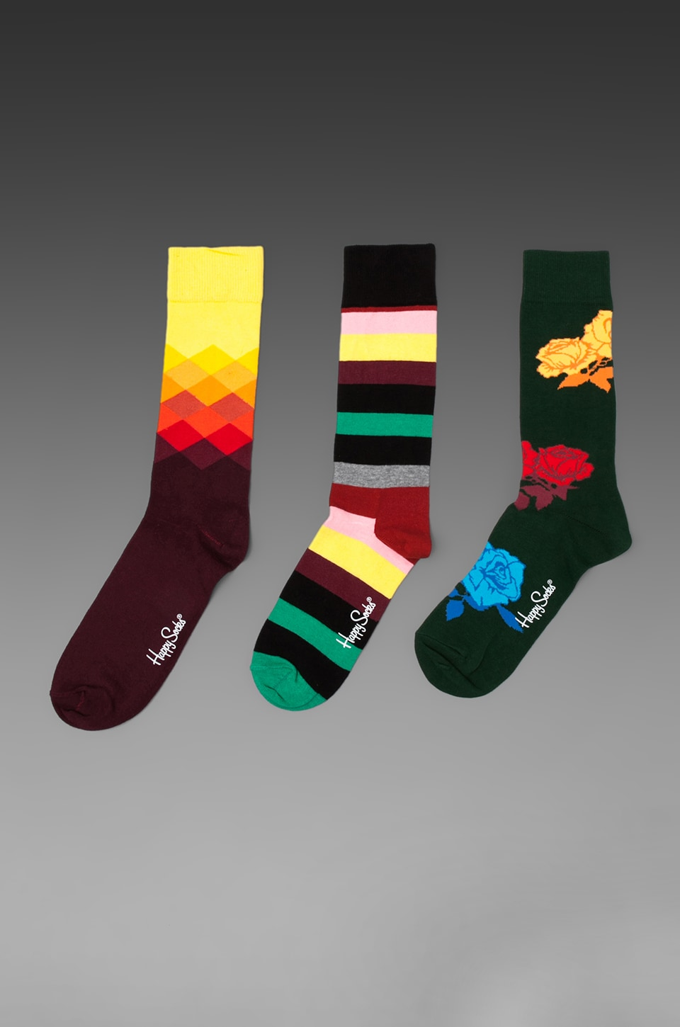 Happy Socks in Stripe/ Rose/ Faded Diamond