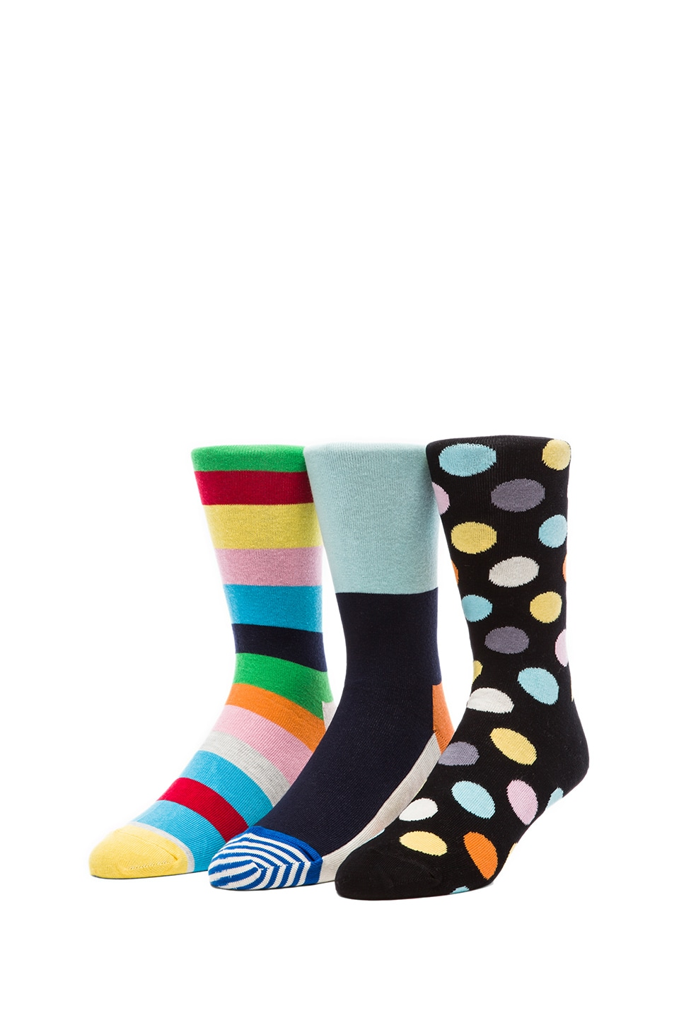 Happy Socks in Striped Toe & Big Dot & Stripe