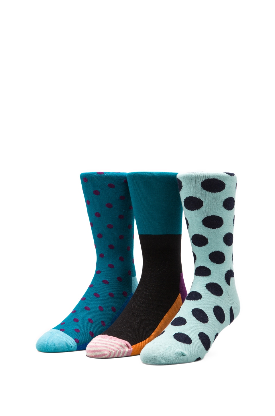 Happy Socks in Big Dot/Dot/Striped Toe
