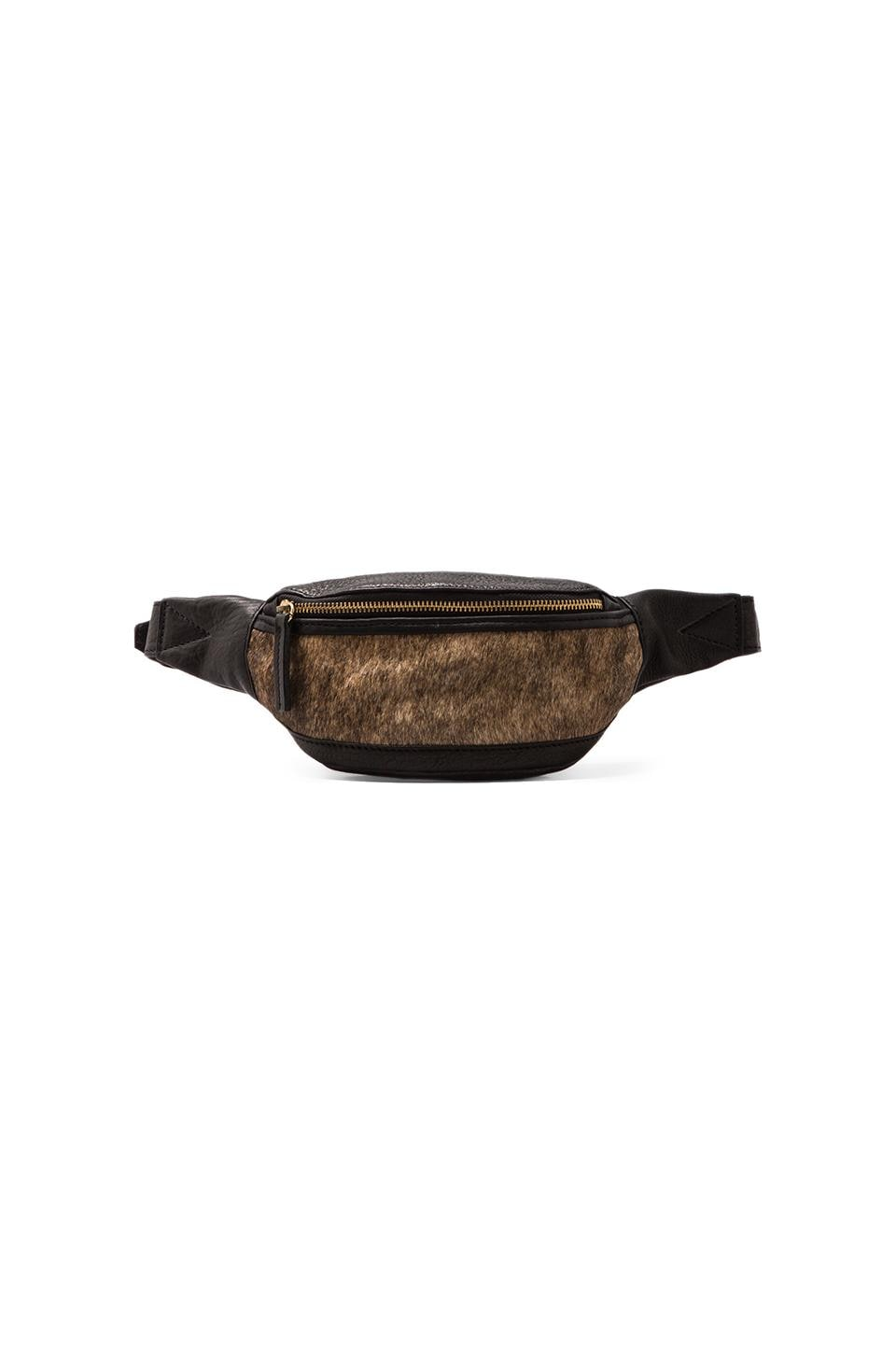 HARE + HART Calf Hair Fanny Pack in Black