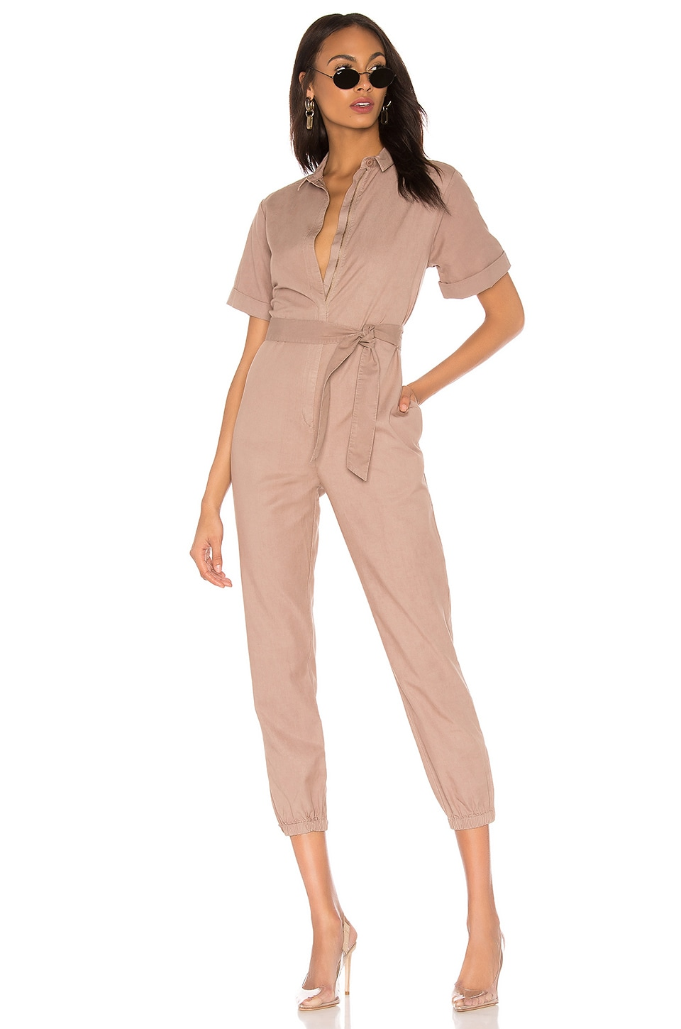 MONROW Short Sleeve Side Zip Detail Jumpsuit in Camel