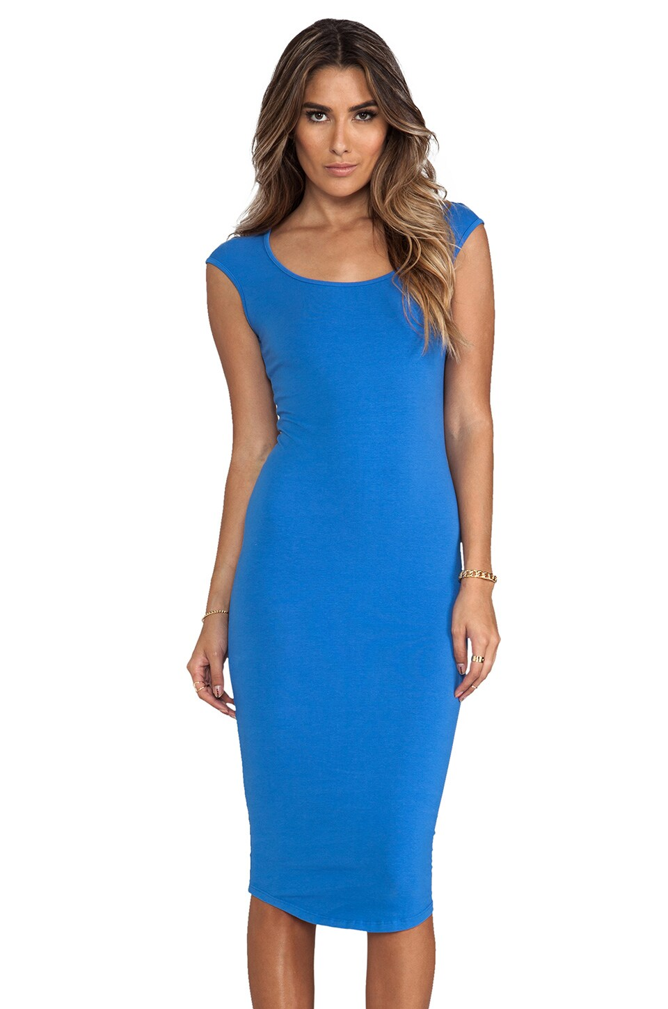 MONROW 1X1 Cap Sleeve T Dress in Ocean