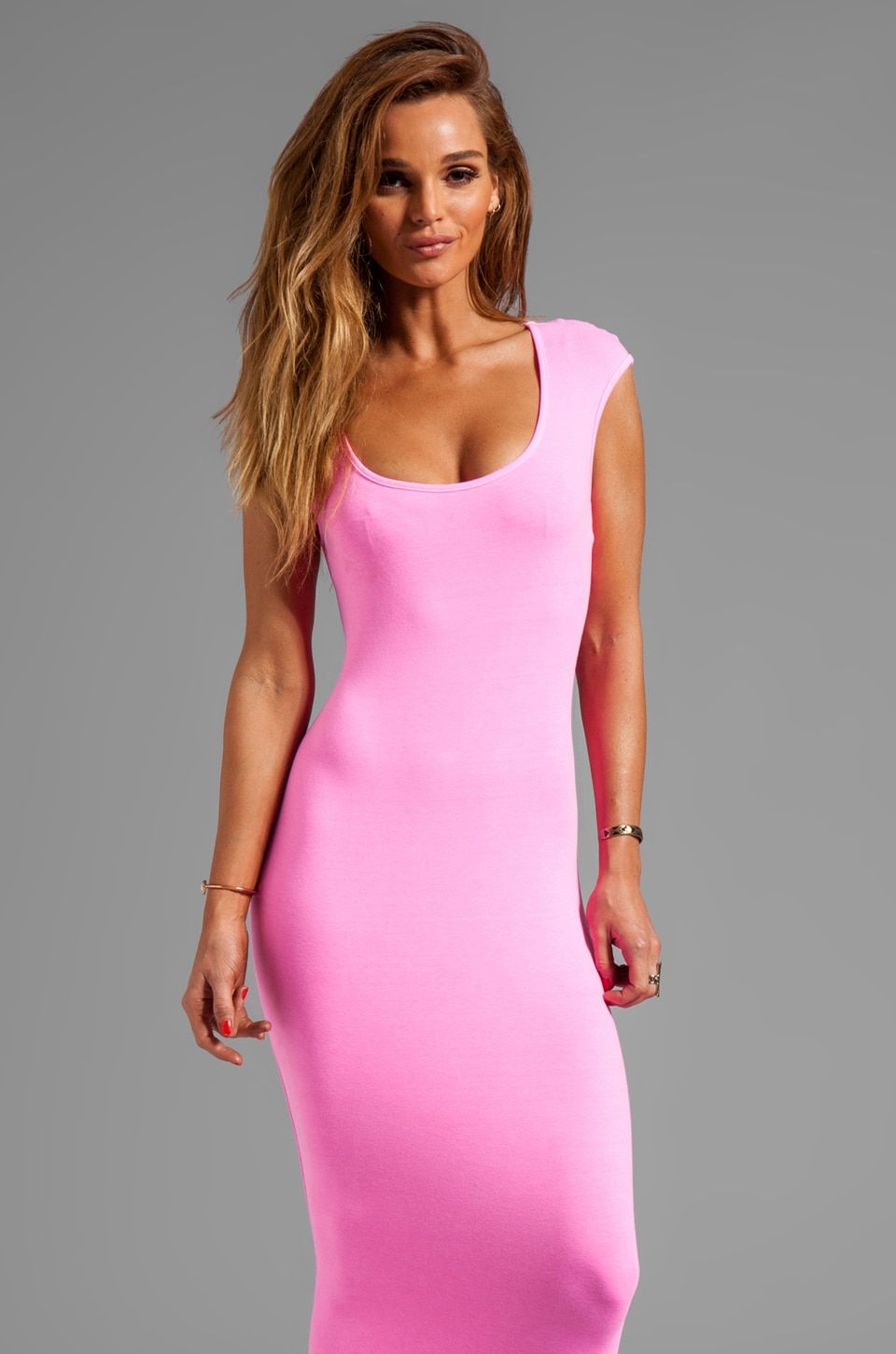 MONROW 1X1 Cap Sleeve T Dress in Neon Pink