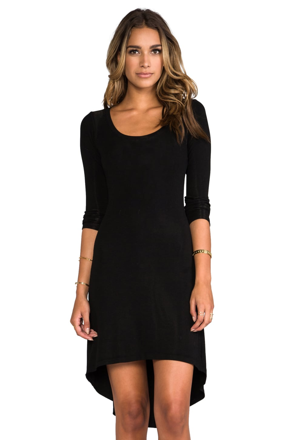 MONROW Rib Basic Dress in Black