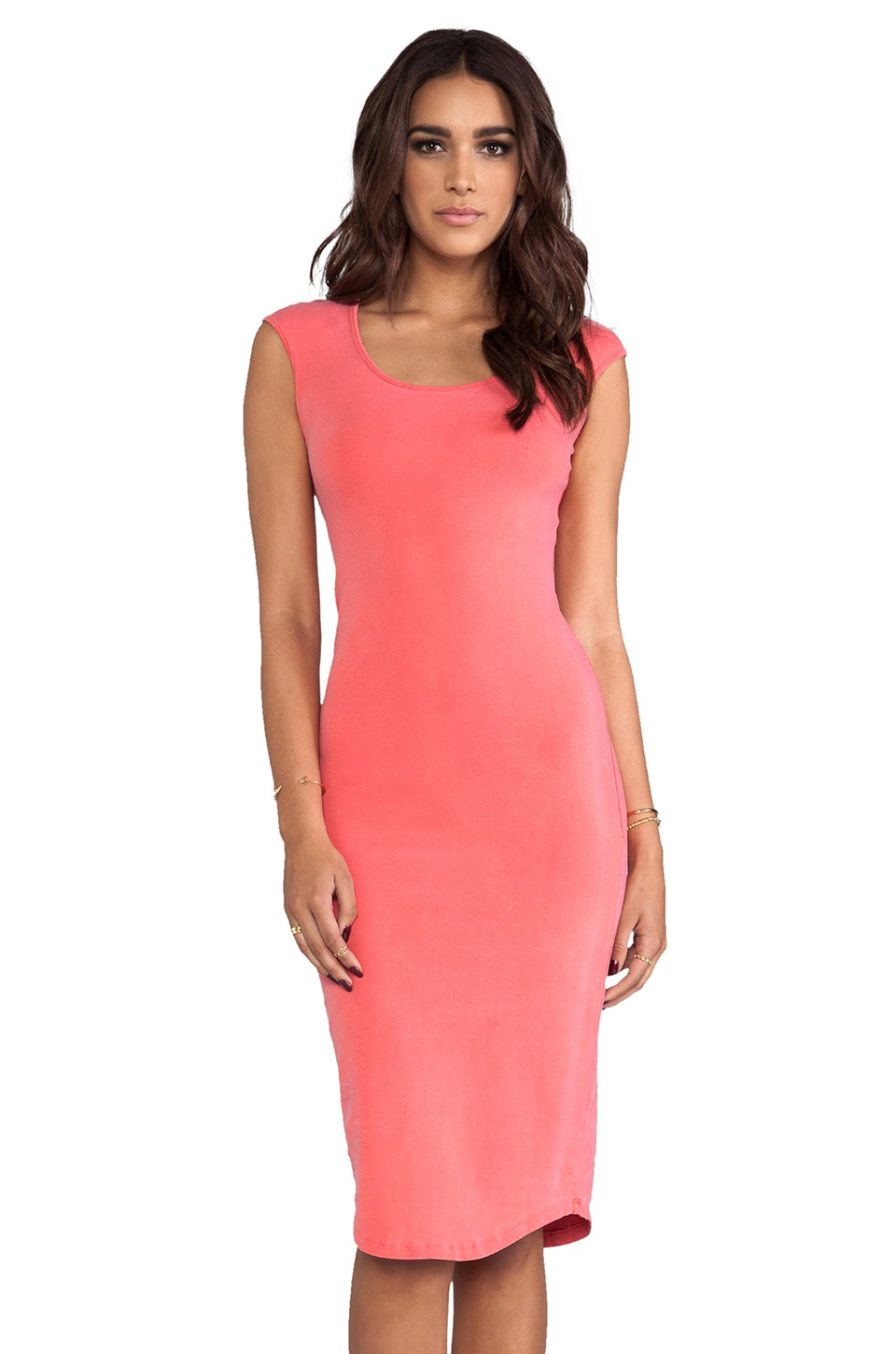 MONROW Cap Sleeve Dress in Guava