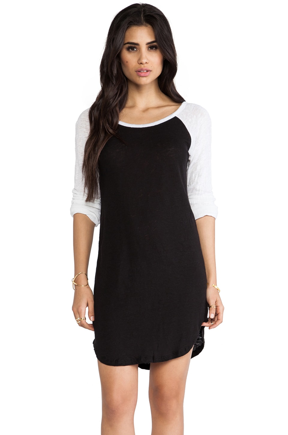 MONROW Colorblock Linen Rock Dress in Black & White