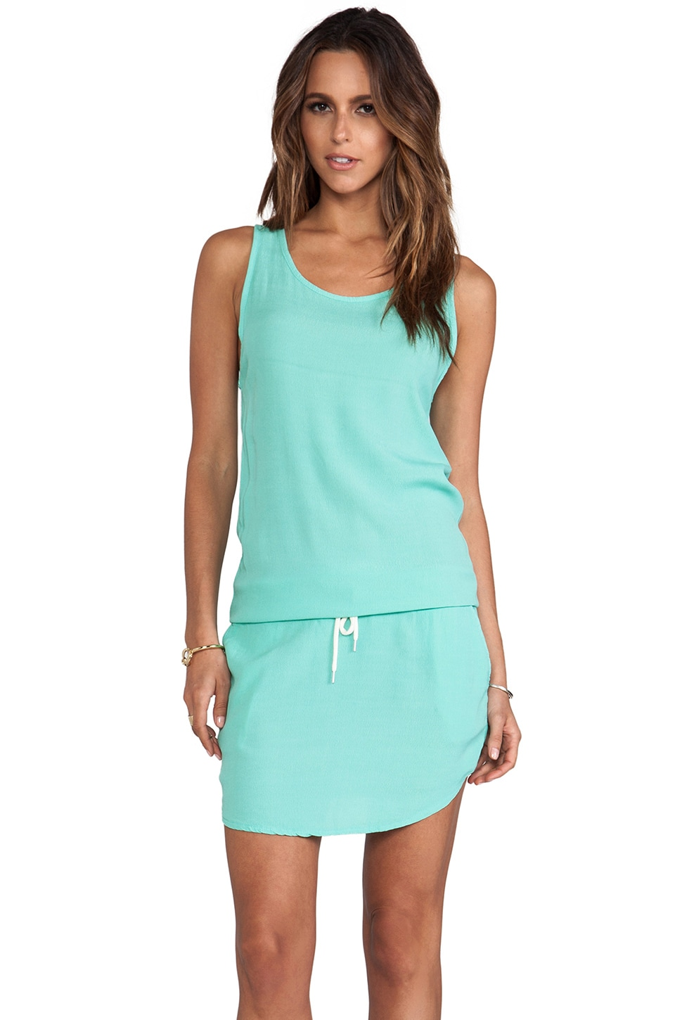 MONROW Crepe Basics Tennis Dress in Turquoise