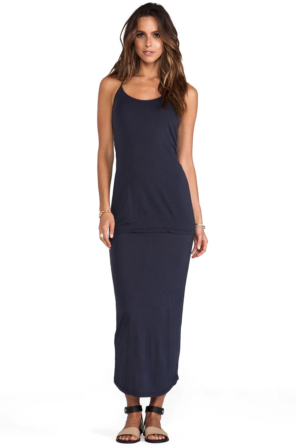 MONROW Basics Racer Dress in Neptune