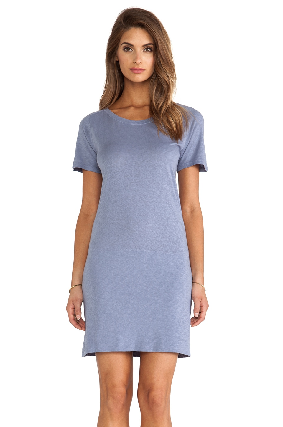MONROW Slub Cotton Modal T-Shirt Dress in Denim