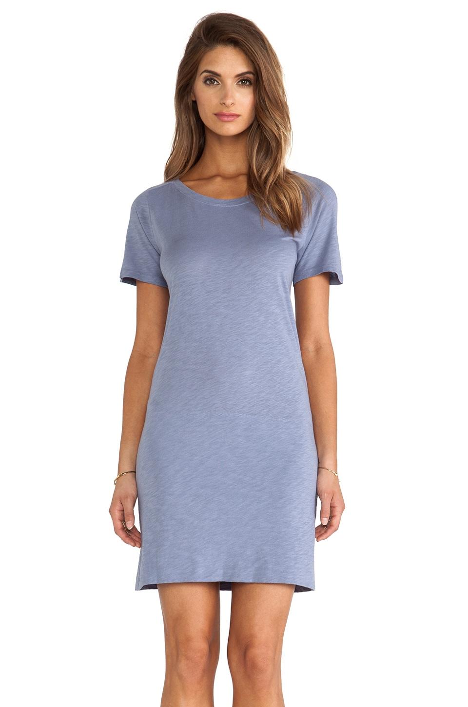 MONROW Slub Cotton Modal T-Shirt Dress in Denim