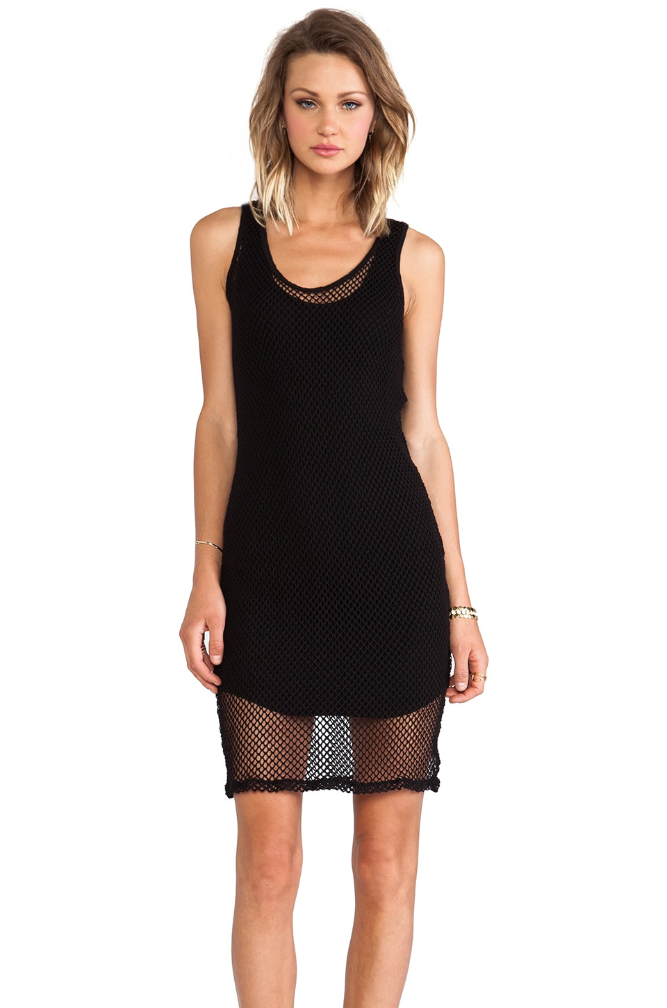 MONROW Fishnet Mesh Tank Dress in Black