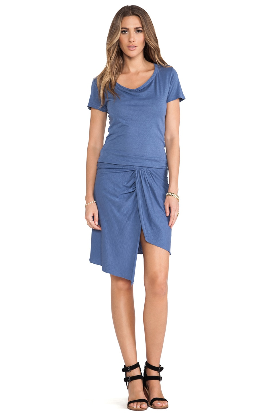 MONROW Slub Cotton Modal Drape Neck Dress in Denim