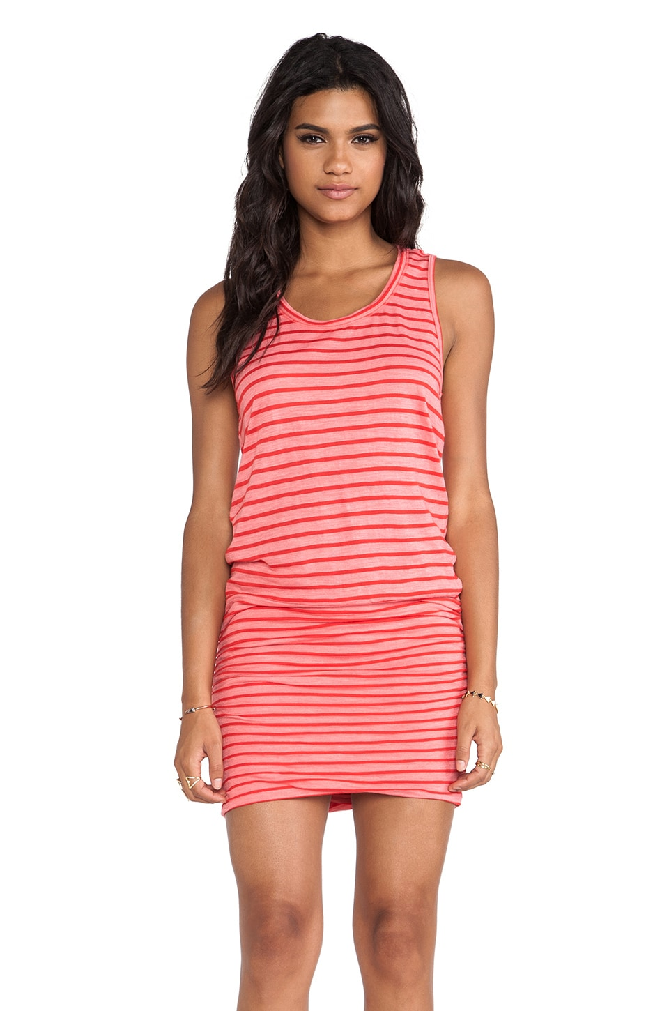 MONROW Red Stripes Rayon Shirred Dress in Coral