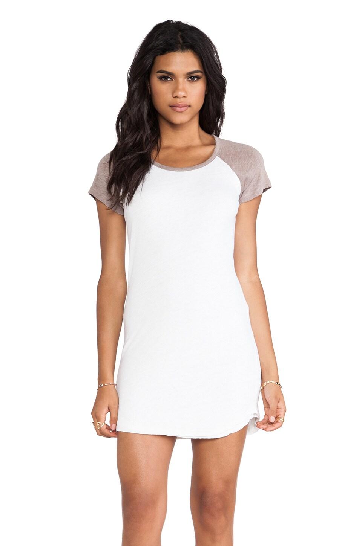 MONROW Linen Jersey Baseball Dress in White & Linen