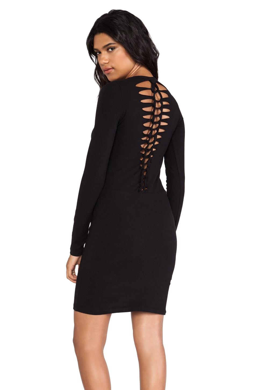 MONROW Heavy Stretch Cotton Braided Dress in Black