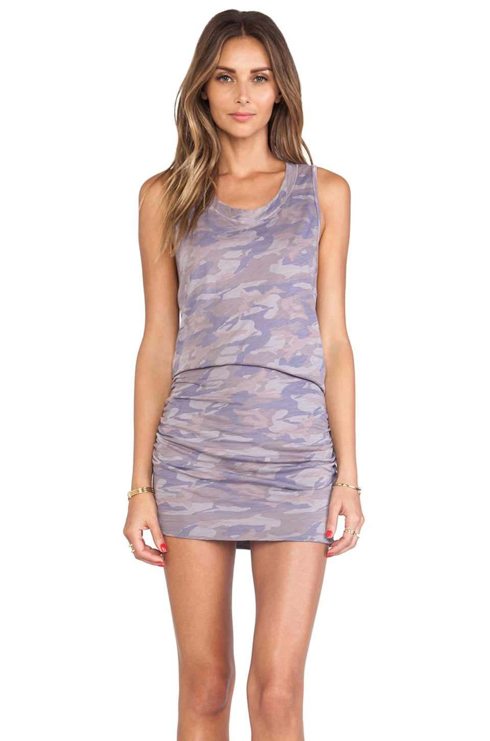 MONROW Camo Print Sleeveless Shirred Dress in Haze