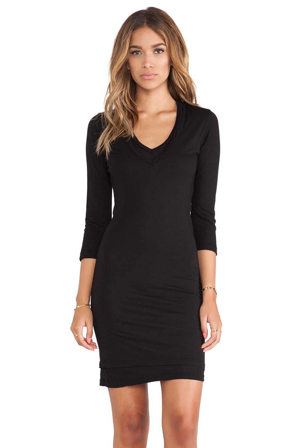 MONROW Heather Grey Tissue Double V Neck Dress in Black