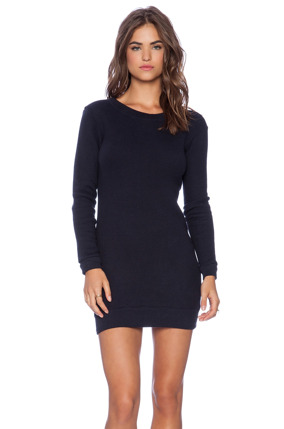 MONROW Birds Eye French Terry Long Fashion Sweater Dress in Neptune