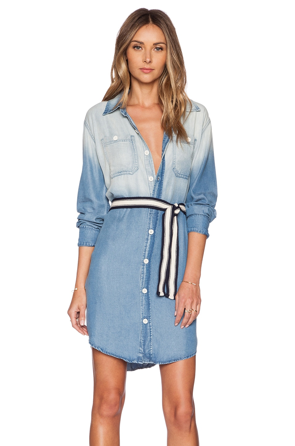 MONROW Chambray Shirt Dress in Denim Wash