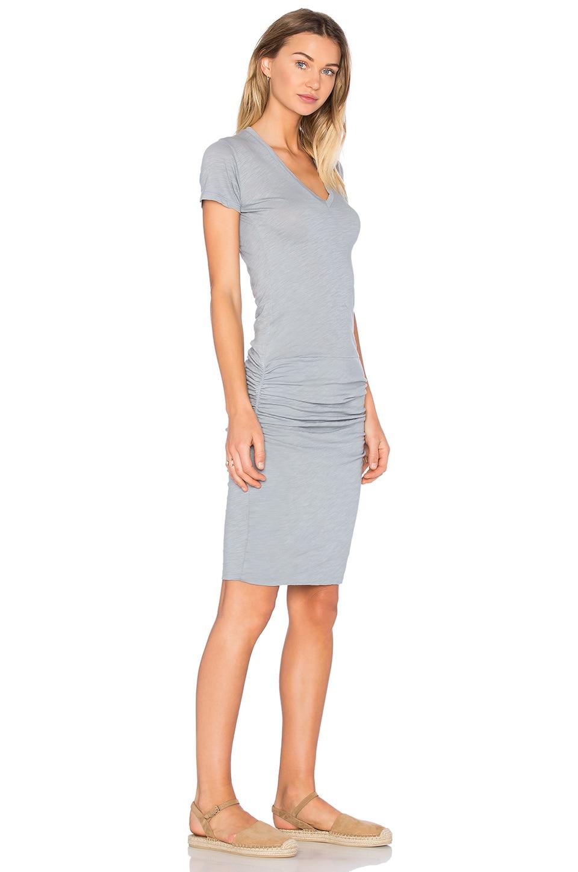 MONROW V Neck Dress in Dusty Blue