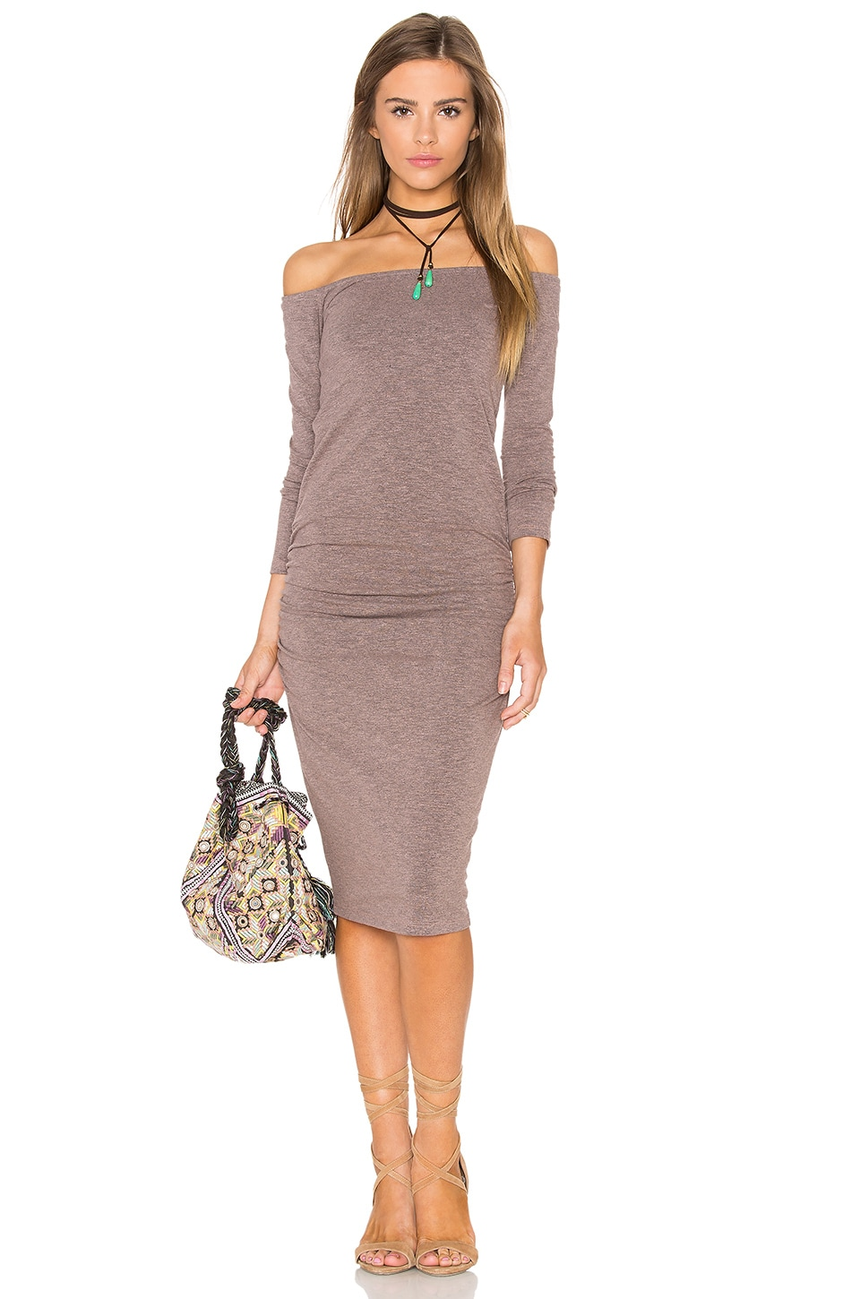 Off The Shoulder Midi Dress by MONROW