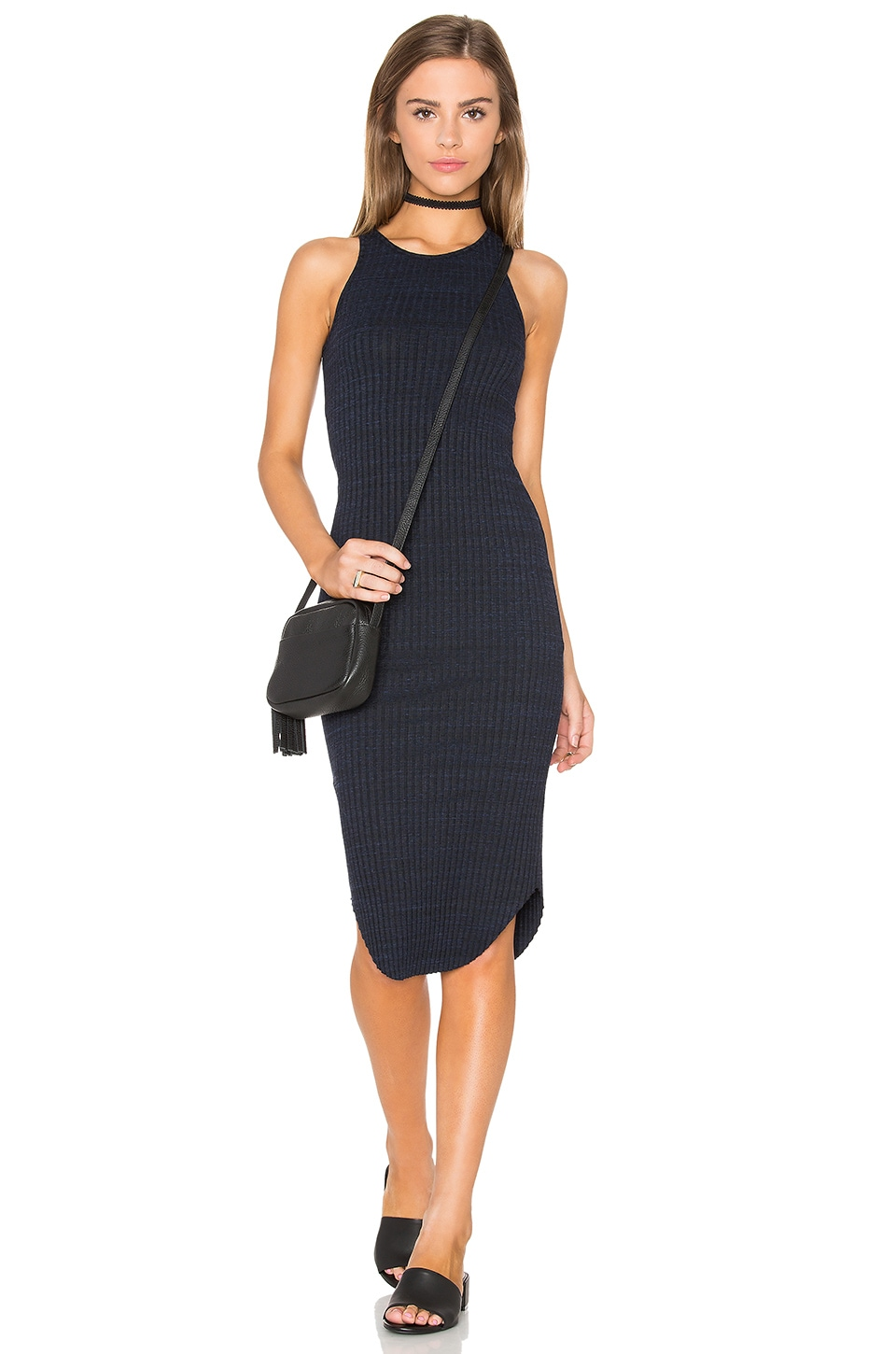 MONROW Stretch Rib Midi Dress in Navy