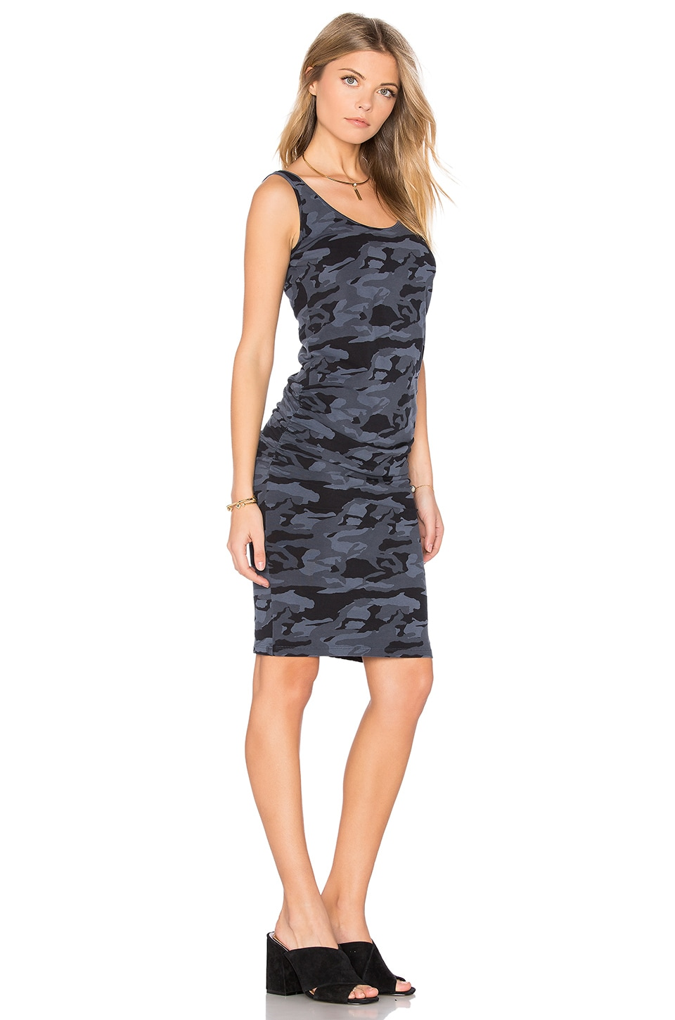 Bone Blue Camo Shirred Dress by MONROW