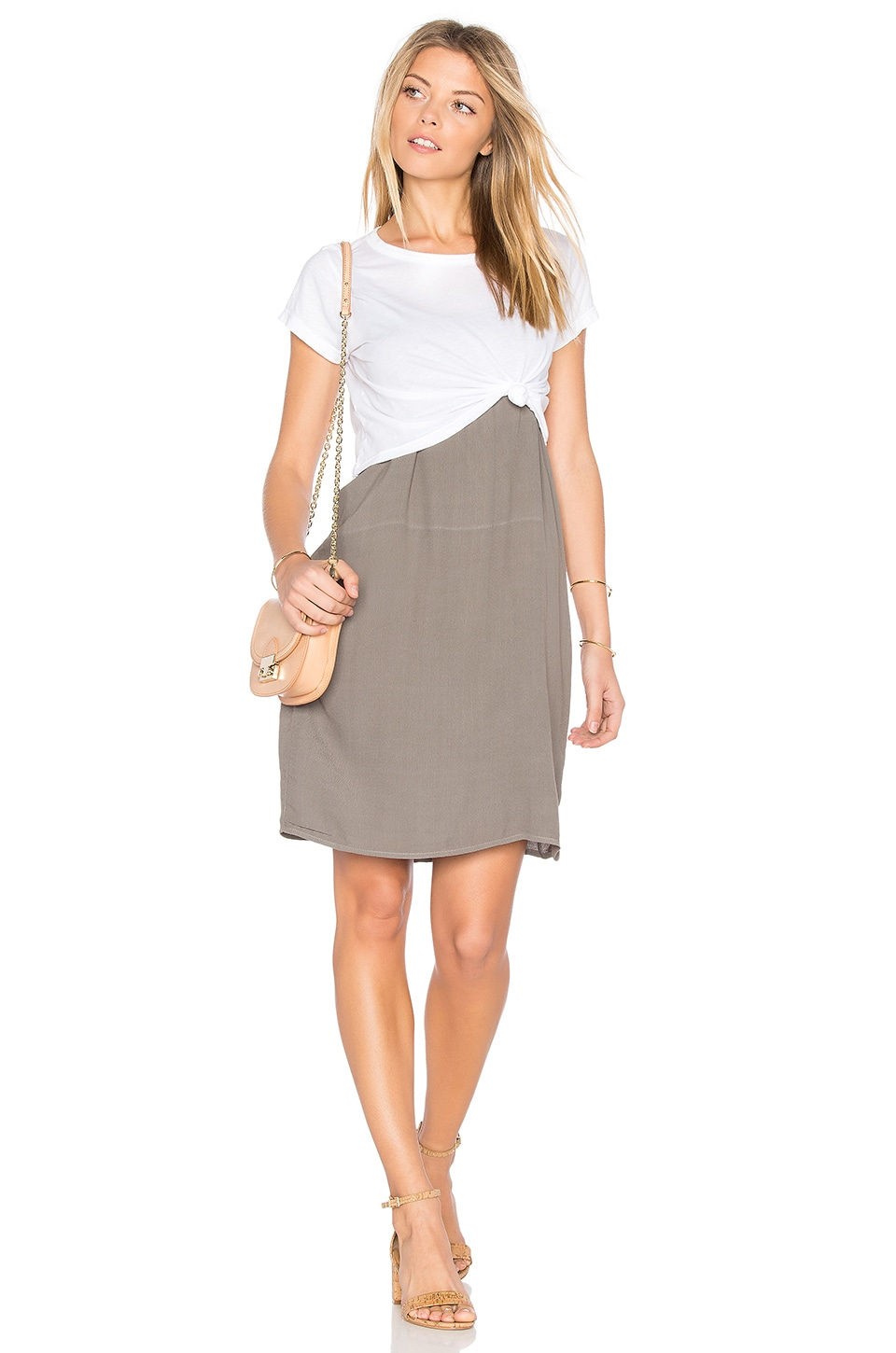 MONROW Cropped Tee With Slip Dress in Ash Green & White