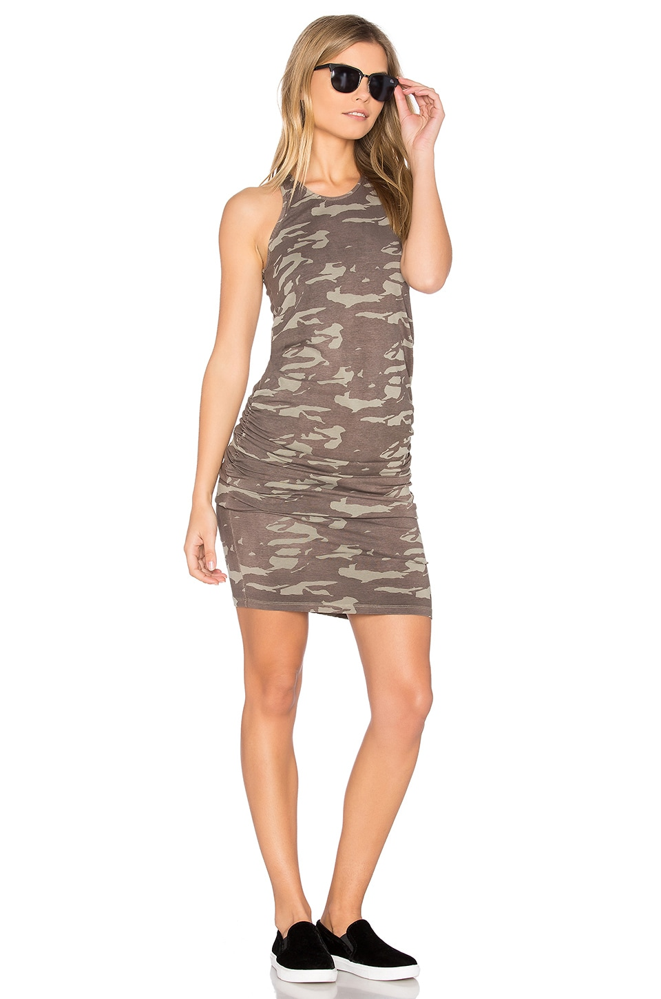 MONROW Neutral Camo Shirred Dress in Ash Green